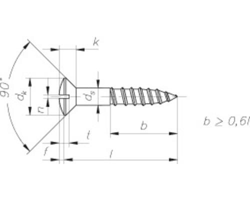 Holzschraube Linsensenkkopf m. Schlitz 3,0 x 20 mm, DIN 95, Messing, 200 Stück