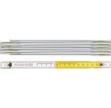 Meterstab Holz 2 m weiss/gelb