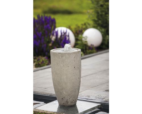 Gartenbrunnen-Set Vase Zement grau