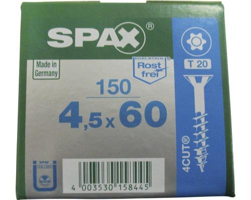 Spax Universalschraube, Edelstahl A2, Senkkopf T 20, Holz-Teilgewinde, 4,5x60 mm, 150 Stück