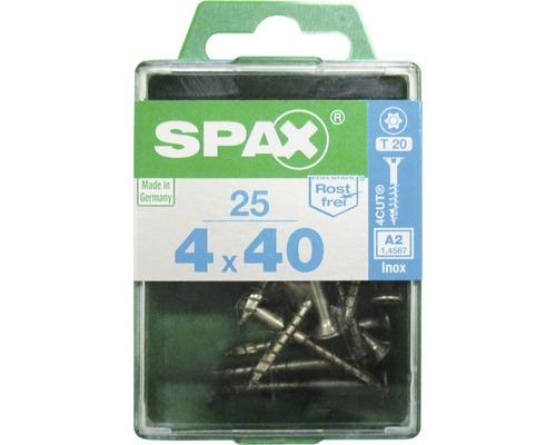 Spax Universalschraube, Edelstahl A2, Senkkopf T 20, Holz-Teilgewinde, 4x40 mm, 25 Stück