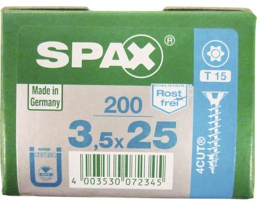 Spax Universalschraube, Edelstahl A2, Senkkopf T 15, Holz-Vollgewinde, 3,5x25 mm, 200 Stück