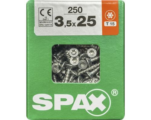Spax Universalschraube Senkkopf Stahl gehärtet T 15, Holz-Vollgewinde 3,5x25 mm, 250 Stück