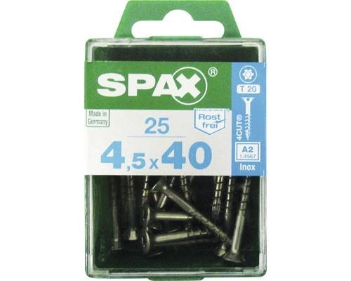 Spax Universalschraube, Edelstahl A2, Senkkopf T 20, Holz-Teilgewinde, 4,5x40 mm, 25 Stück