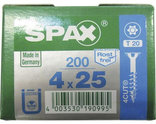 Spax Universalschraube, Edelstahl A2, Senkkopf T 20, Holz-Vollgewinde, 4x25 mm, 200 Stück