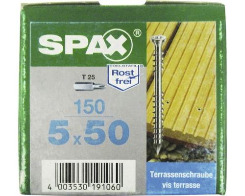 Spax Terrassenschraube, Edelstahl A2 blank, Zylinderkopf T25, Fixiergewinde, 5x50 mm, 150 Stück