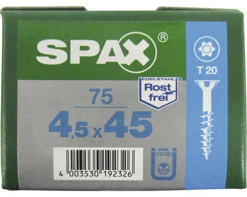 Spax Universalschraube, Edelstahl A2, Senkkopf T 20, Holz-Teilgewinde, 4,5x45 mm, 75 Stück