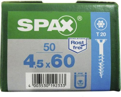 Spax Universalschraube, Edelstahl A2, Senkkopf T 20, Holz-Teilgewinde, 4,5x60 mm, 50 Stück