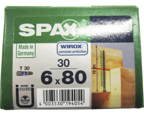 Spax Holzbauschraube In.Force, Zylinderkopf T 30, 6x80 mm, 30 Stück