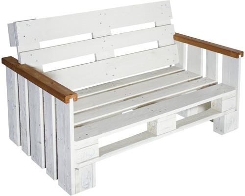Palettengartenbank Fichte 129x80x76 cm 2-Sitzer creme