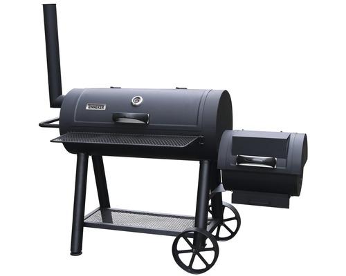 Smoker Tenneker® Grill Smoker XL schwarz mit 98x44 cm Grillfläche, Schornstein, Deckelthermometer, Grillrost und Ablage