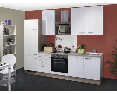 Küchenblock Flex Well Valero weiß/Sonoma Eiche hochglanz 270 cm inkl. Einbaugeräte