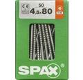 Spax Universalschraube Senkkopf Stahl gehärtet T 20, Holz-Teilgewinde 4,5x80 mm, 50 Stück
