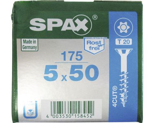 Spax Universalschraube, Edelstahl A2, Senkkopf T 20, Holz-Teilgewinde, 5x50 mm, 175 Stück