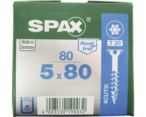 Spax Universalschraube, Edelstahl A2, Senkkopf T 20, Holz-Teilgewinde, 5x80 mm, 80 Stück