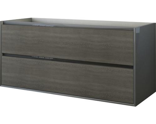 Waschbeckenunterschrank Baden Haus Glas 55x120x46 cm anthrazit/Eiche dunkel ohne Waschbecken