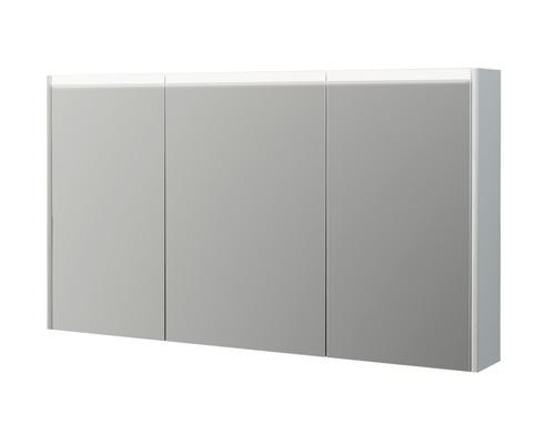 Spiegelschrank Baden Haus 120x67x15 cm mit 2 Glasfächer 3-türig weiß hochglanz