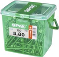 Spax Universalschraube Senkkopf Stahl gehärtet T 20, Holz-Teilgewinde 5x80 mm, 150 Stück in Henkelbox