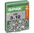 Spax Universalschraube Senkkopf Stahl gehärtet T 10, Holz-Vollgewinde 3x12 mm, 100 Stück
