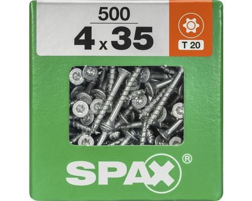 Spax Universalschraube Senkkopf Stahl gehärtet T 20, Holz-Teilgewinde 4x35 mm, 500 Stück