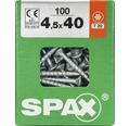 Spax Universalschraube Senkkopf Stahl gehärtet T 20, Holz-Teilgewinde 4,5x40 mm, 100 Stück