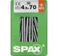 Spax Universalschraube Senkkopf Stahl gehärtet T 20, Holz-Teilgewinde 4,5x70 mm, 50 Stück