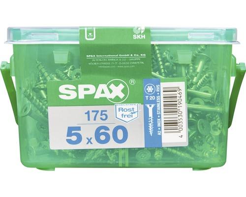 Spax Universalschraube, Edelstahl A2, Senkkopf T 20, Holz-Teilgewinde, 5x60 mm, 175 Stück