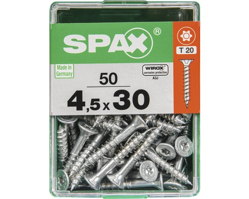 Spax Universalschraube Senkkopf Stahl gehärtet T 20, Holz-Teilgewinde 4,5x30 mm, 50 Stück