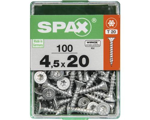 Spax Universalschraube Senkkopf Stahl gehärtet T 20, Holz-Vollgewinde 4,5x20 mm, 100 Stück