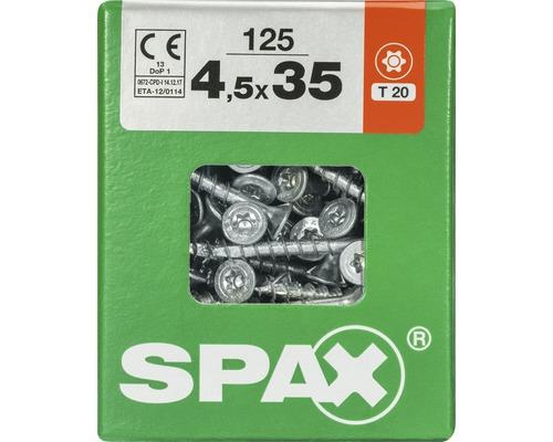 Spax Universalschraube Senkkopf Stahl gehärtet T 20, Holz-Teilgewinde 4,5x35 mm, 125 Stück