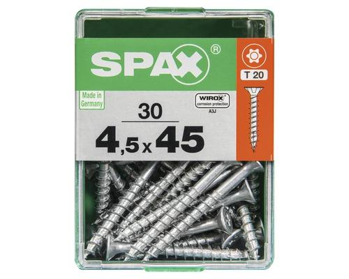 Spax Universalschraube Senkkopf Stahl gehärtet T 20, Holz-Teilgewinde 4,5x45 mm, 30 Stück