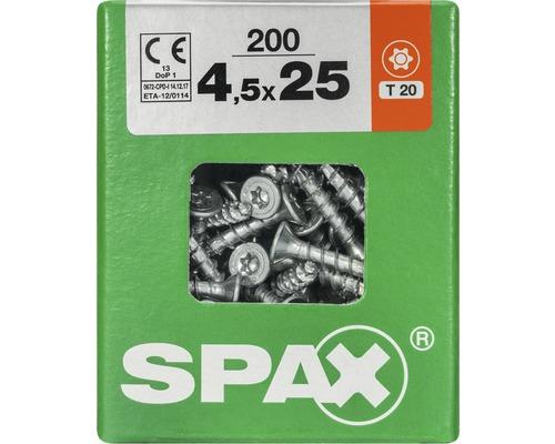 Spax Universalschraube Senkkopf Stahl gehärtet T 20, Holz-Vollgewinde 4,5x25 mm, 200 Stück