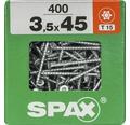 Spax Universalschraube Senkkopf Stahl gehärtet T15, Holz-Teilgewinde 3,5x45 mm 400 Stück