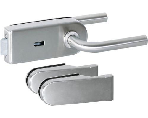 Beschlag-Set für Glastüren Aluminium eloxiert verschließbar
