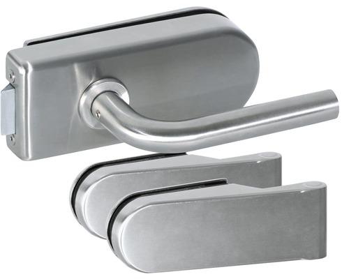 Beschlag-Set für Glastüren Aluminium eloxiert unverschließbar