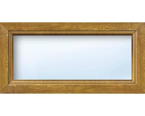 Kunststofffenster Festelement ARON Basic weiß/golden oak 1150x1000 mm (nicht öffenbar)