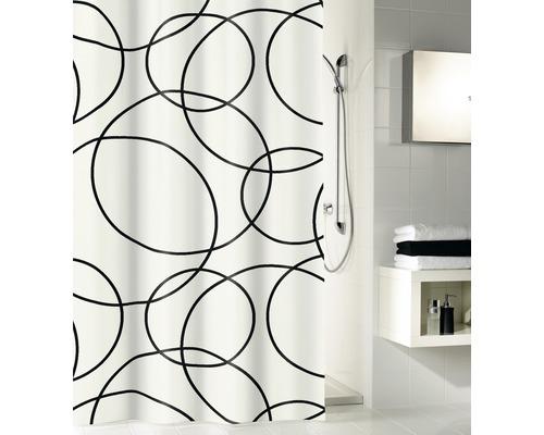 Duschvorhang Kleine Wolke Rings schwarz-weiß 180x200 cm