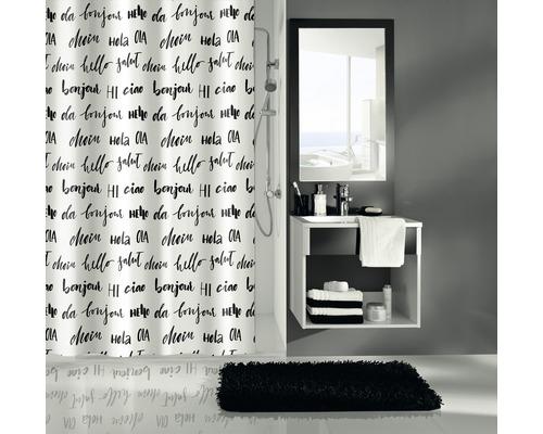 Duschvorhang Kleine Wolke Hello schwarz-weiß 180x200 cm