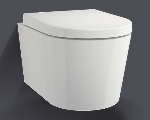 Wandtiefspülklosett-Set Jungborn Lata spülrandlos weiß mit WC-Sitz