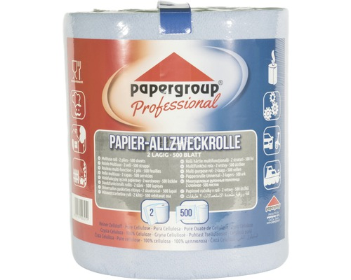Papier Allzweckrolle 2-lagig, 500 Blatt, blau