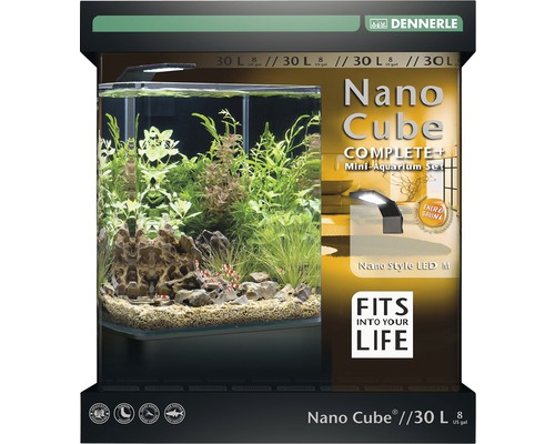 Aquarium DENNERLE Nano Cube Complete+ 30 l - Style LED M mit LED-Beleuchtung, Bodengrund, Filter, Rückwand, Thermometer