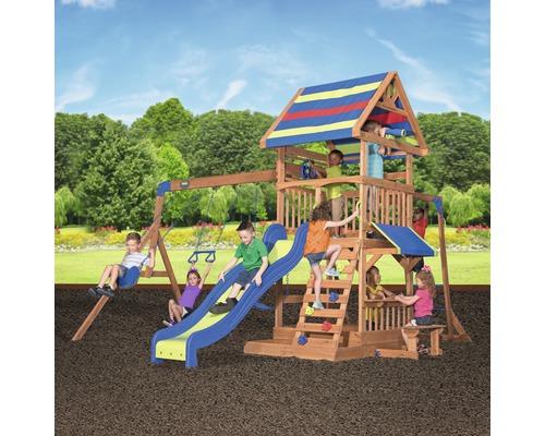 Spielturm Backyard DISCOVERY Northbrook Holz mit Sandkasten, Doppelschaukel, Kletterwand, Sitzbank, Rutsche blau
