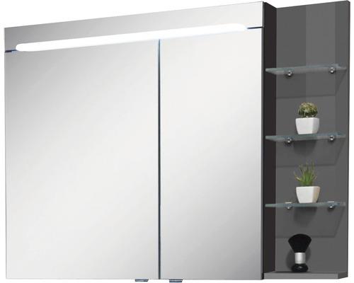 Spiegelschrank Marlin 3070 100x75,2x13,6 cm 2-türig anthrazit glänzend