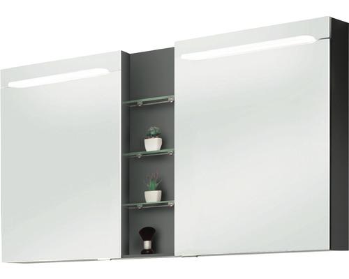 Spiegelschrank Marlin 3070 140x75,2x13,6 cm 2-türig anthrazit glänzend