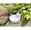 Gartenfigur Vogeltränke H 17 cm, weiß