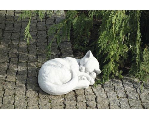 Gartenfigur Katze H 17 cm, weiß