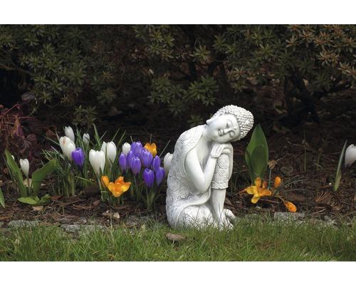 Gartenfigur Buddha H 24 cm, weiß