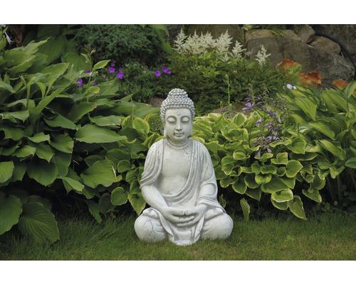 Gartenfigur Buddha H 50 cm, weiß