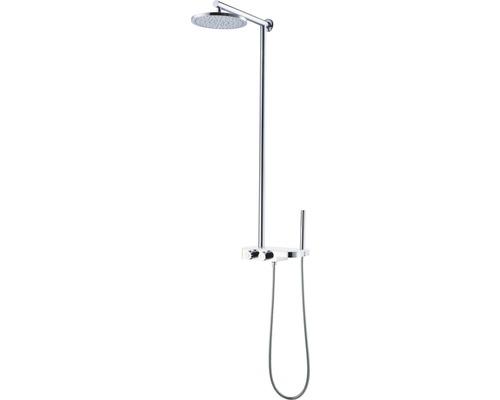 Duschsystem Avital Tirino mit Thermostat und Glasablage chrom