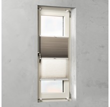 Doppelplissee mit Seitenverspannung weiß/leinen 45x130 cm